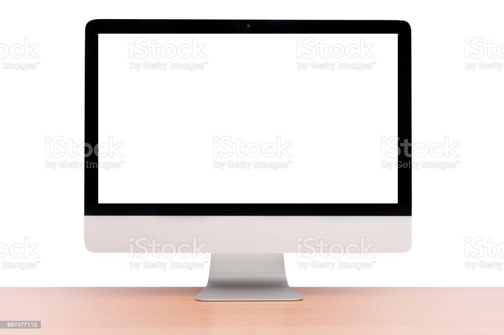 monitor computer retina display on wood table stock photo
