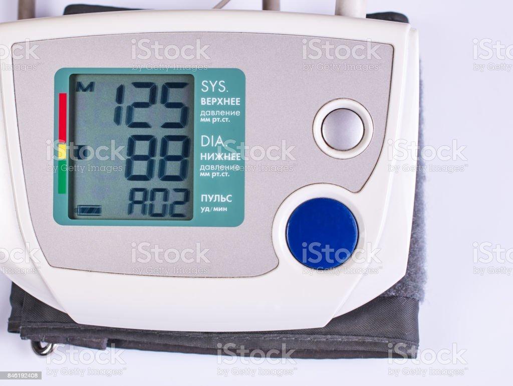 Monitor electronic sphygmomanometer with pressure indicators. stock photo
