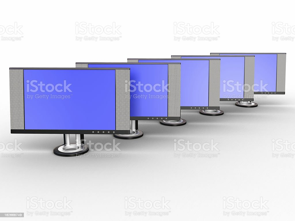 LCD Monitor Group royalty-free stock photo
