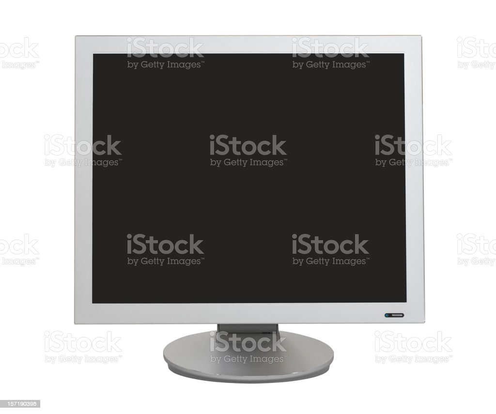LCD monitor (clipping path), isolated on white background royalty-free stock photo