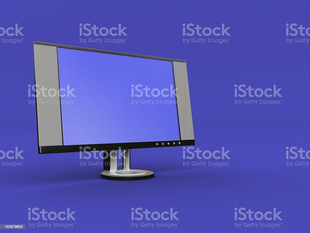 LCD Monitor on Blue royalty-free stock photo