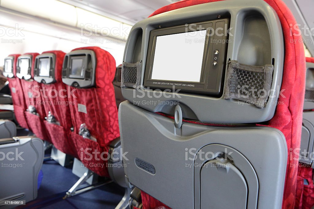 LCD monitor on Passenger Seat of air plane stock photo