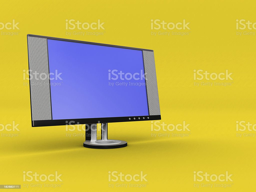 LCD Monitor on Yellow royalty-free stock photo
