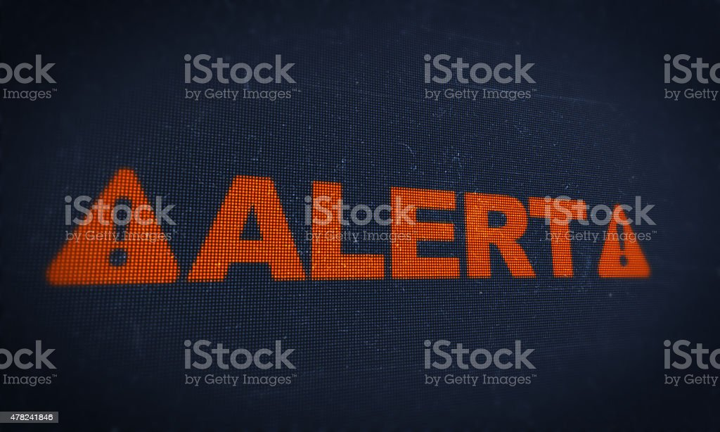 monitor screen alert stock photo
