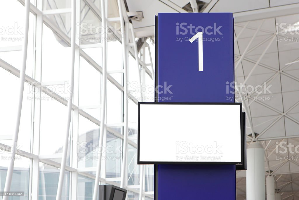 LCD TV monitor shot in Boarding gate royalty-free stock photo