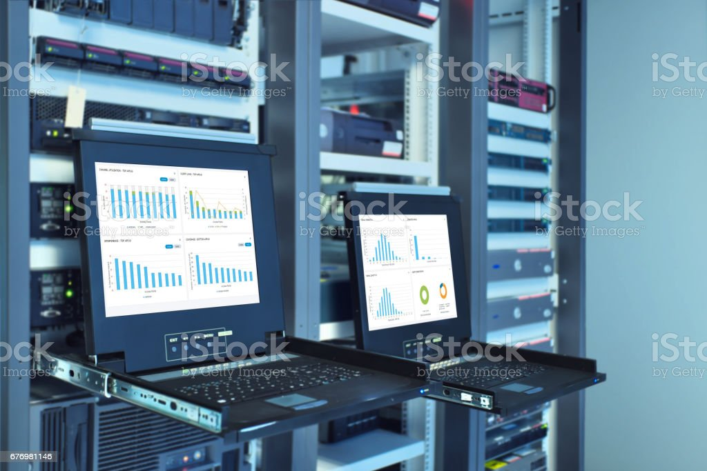 monitor show graph information of network traffic stock photo