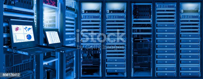 istock Monitor show information of network traffic and status of devices in data center room 856126412