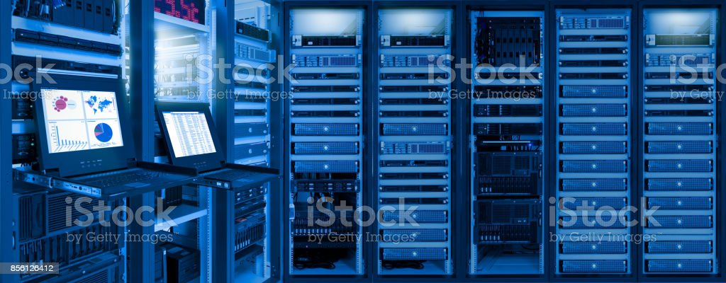 Monitor show information of network traffic and status of devices in data center room stock photo