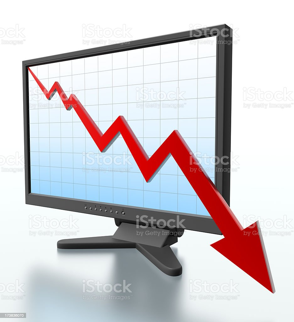 Monitor with graph dropping off screen - Clipping path royalty-free stock photo