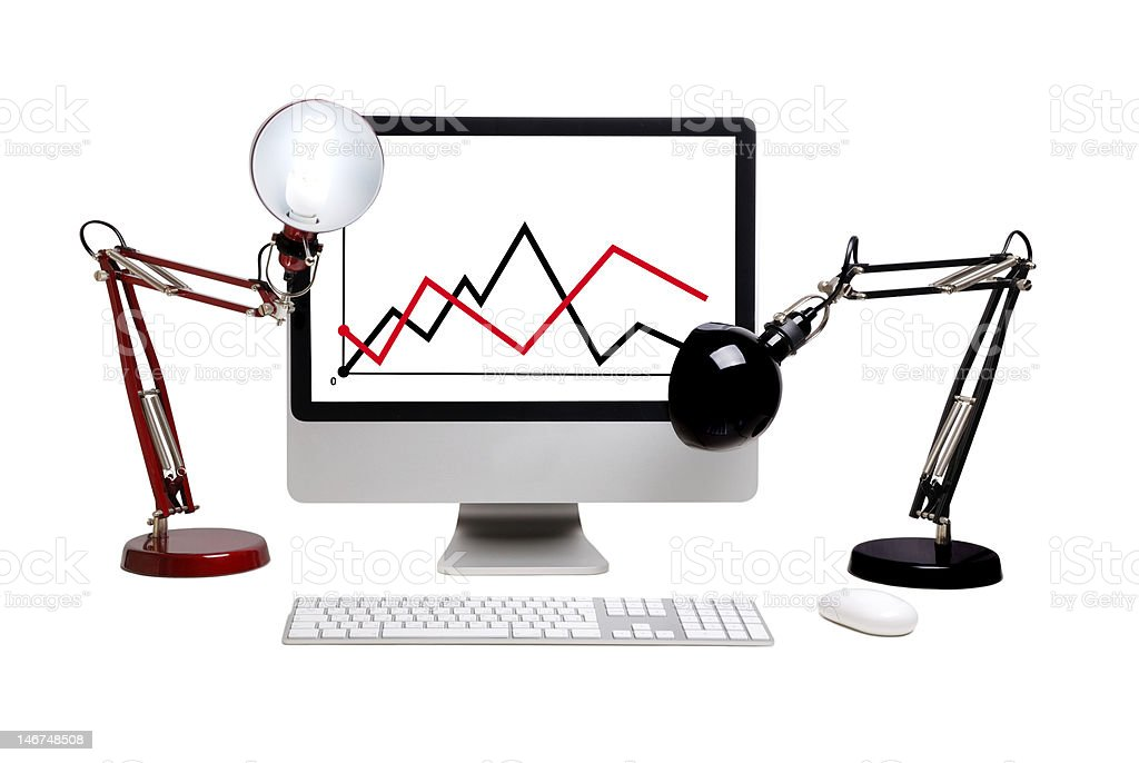 Monitor with graph royalty-free stock photo