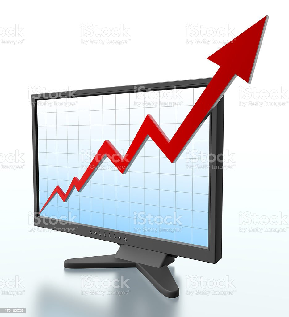 Monitor with graph shooting off screen - Clipping path royalty-free stock photo
