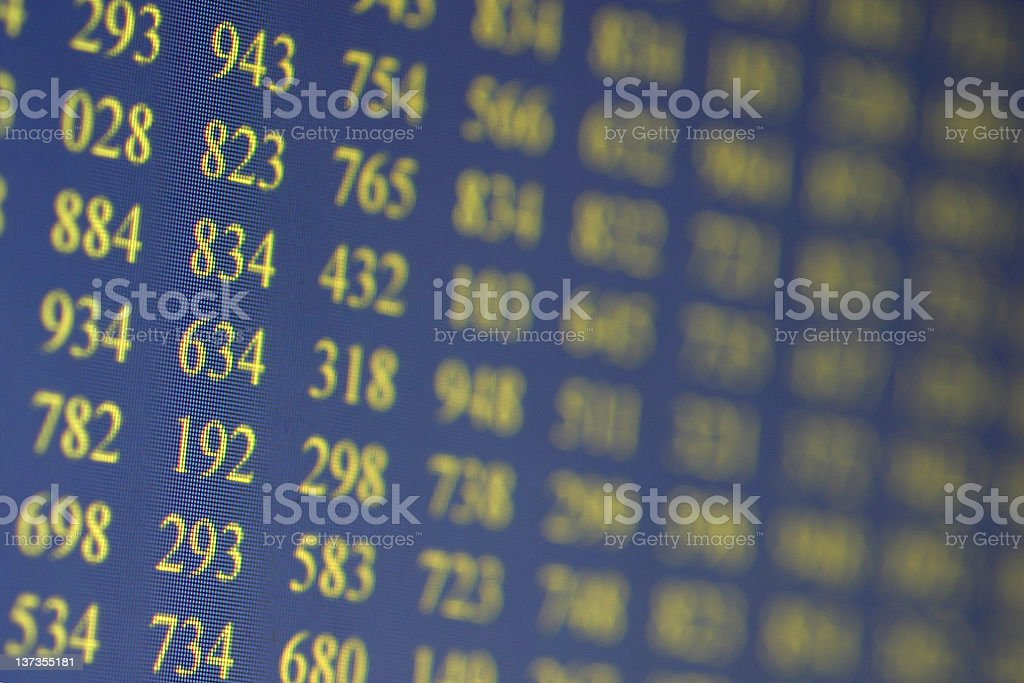 LCD monitor with numbers royalty-free stock photo