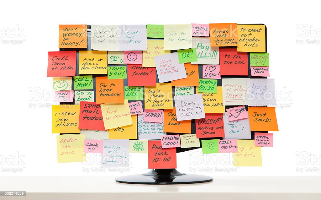 Monitor with post-it notes stock photo