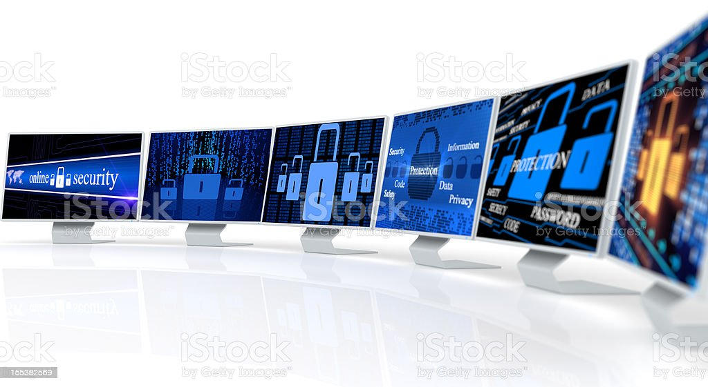 PC monitor with security lock royalty-free stock photo