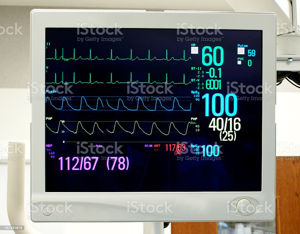 Monitor with Vital Signs: EKG, Pulse Oximetry, Blood Pressure royalty-free stock photo