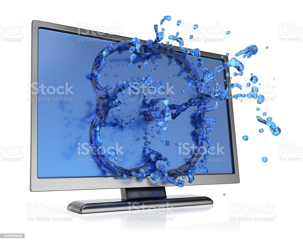 Monitor with water splash stock photo