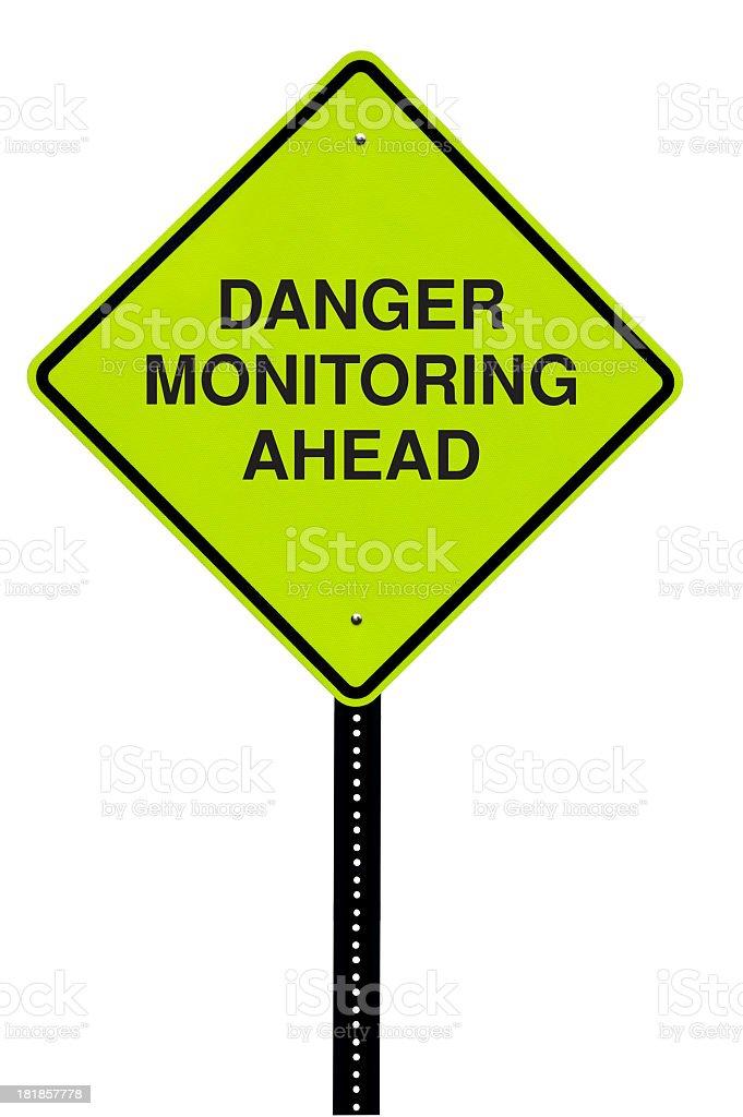 Monitoring Ahead Road Sign royalty-free stock photo