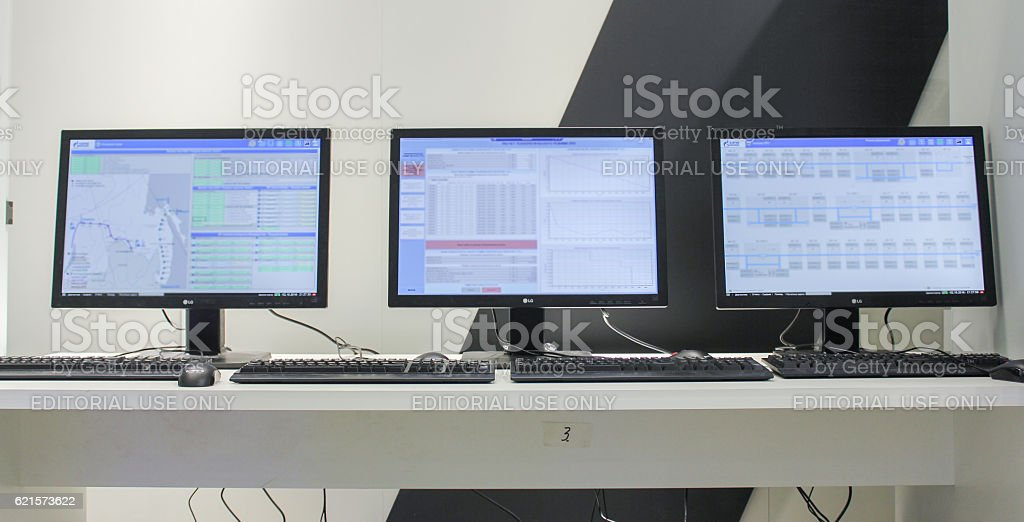 Monitors on the table. photo libre de droits