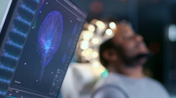 Monitors Show EEG Reading and Graphical Brain Model. In the Background Laboratory Man Wearing Brainwave Scanning Headset Sits in a Chair with Closed Eyes. In the Modern Brain Study Research Laboratory stock photo