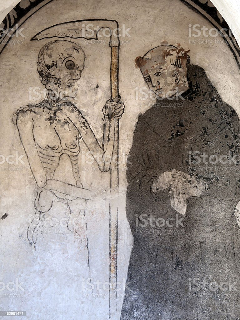 Monk and Death royalty-free stock photo