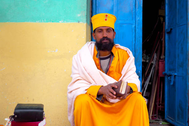 A monk at ancient Debre Damo monastery building, Tigray, Ethiopia stock photo
