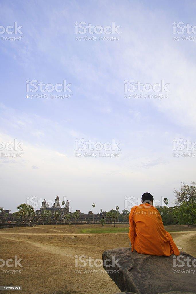 Monk at Angkor Wat royalty-free stock photo