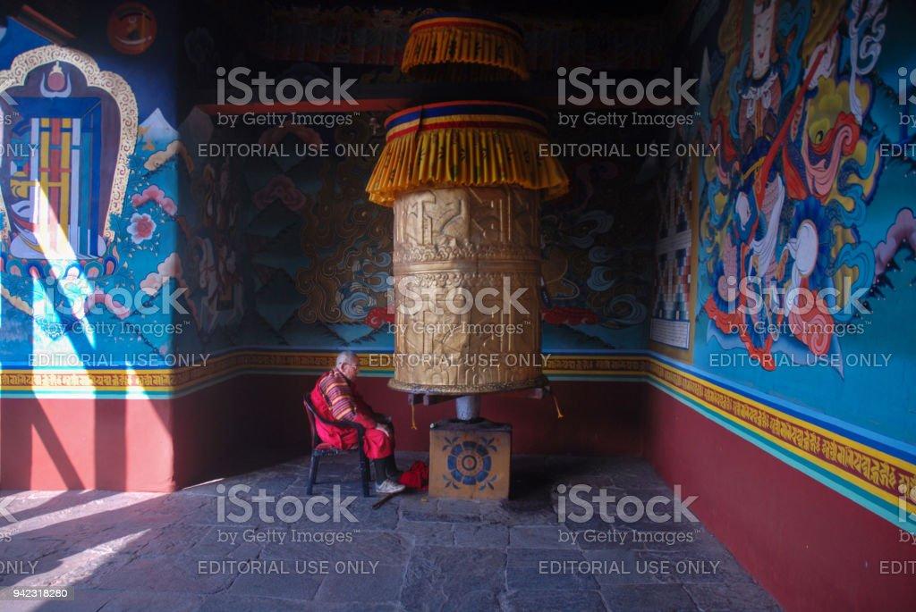 Monk at Punakha , Bhutan. stock photo