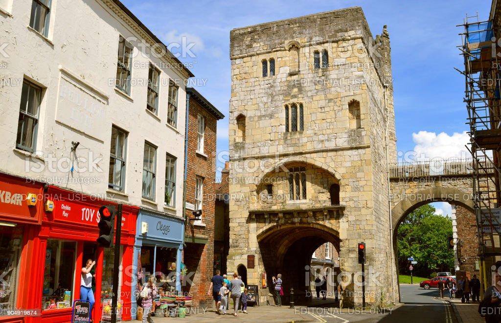 Monk Bar gatehouse City wall of York stock photo