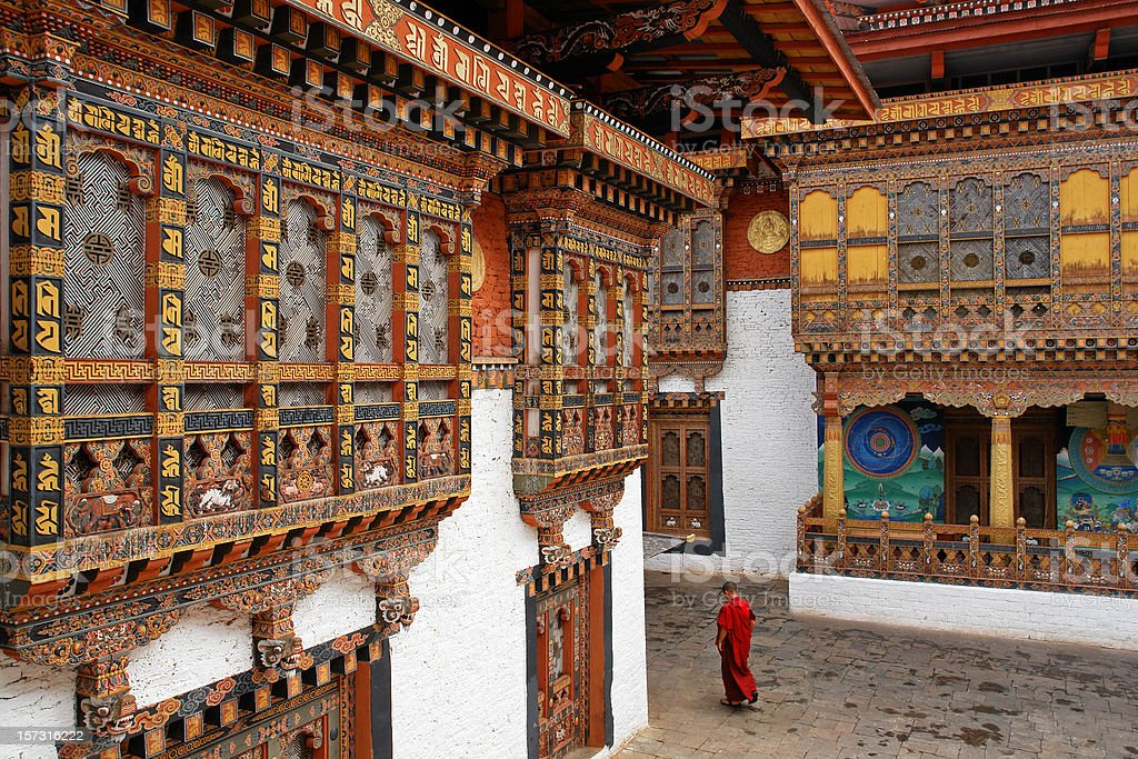 Monk in Punakha Temple stock photo