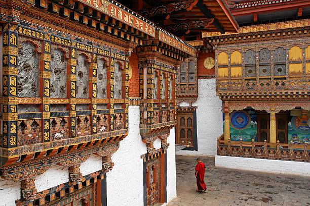 Monk in Punakha Temple  friar stock pictures, royalty-free photos & images