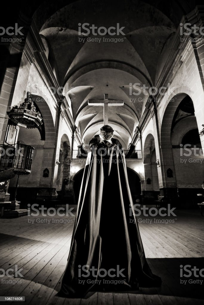 Monk in the church. royalty-free stock photo