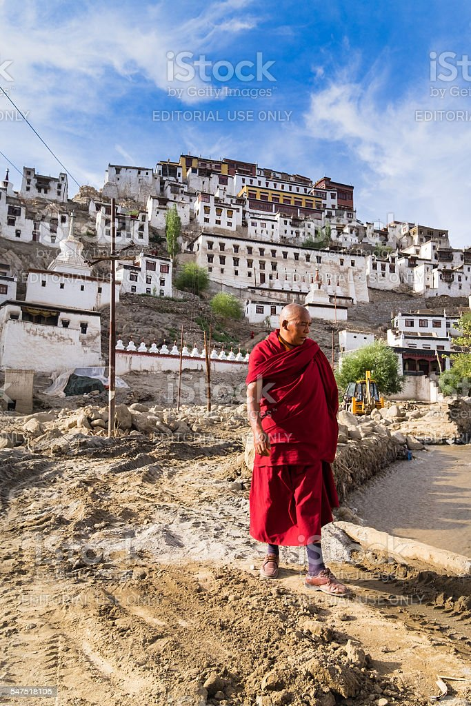 Monk in tibetan monastery Thiksey Gompa stock photo