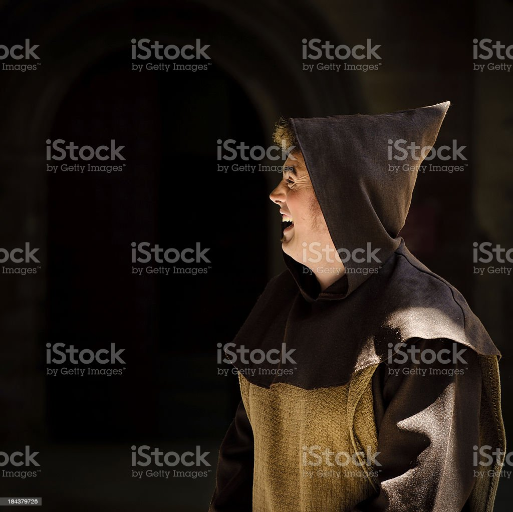Monk laughing royalty-free stock photo