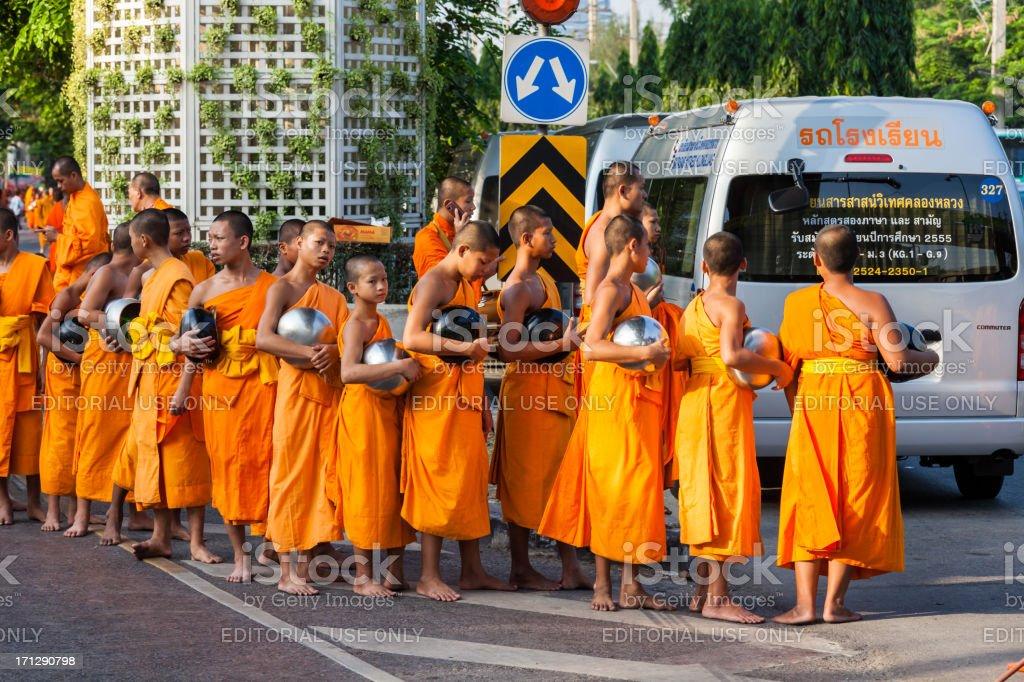 Monk Mass Alms Giving in Bangkok stock photo