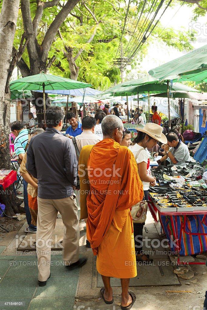 Monk on flee market royalty-free stock photo