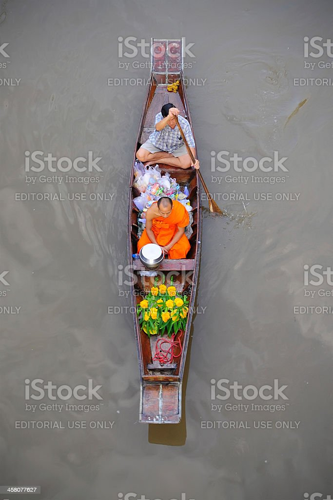 Monk on the river royalty-free stock photo