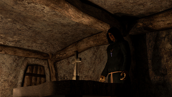 Monk - priest - in front of the cross in the crypt - 3D rendering
