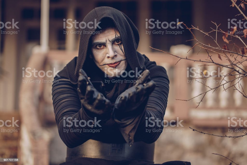 Monk with a hood stock photo