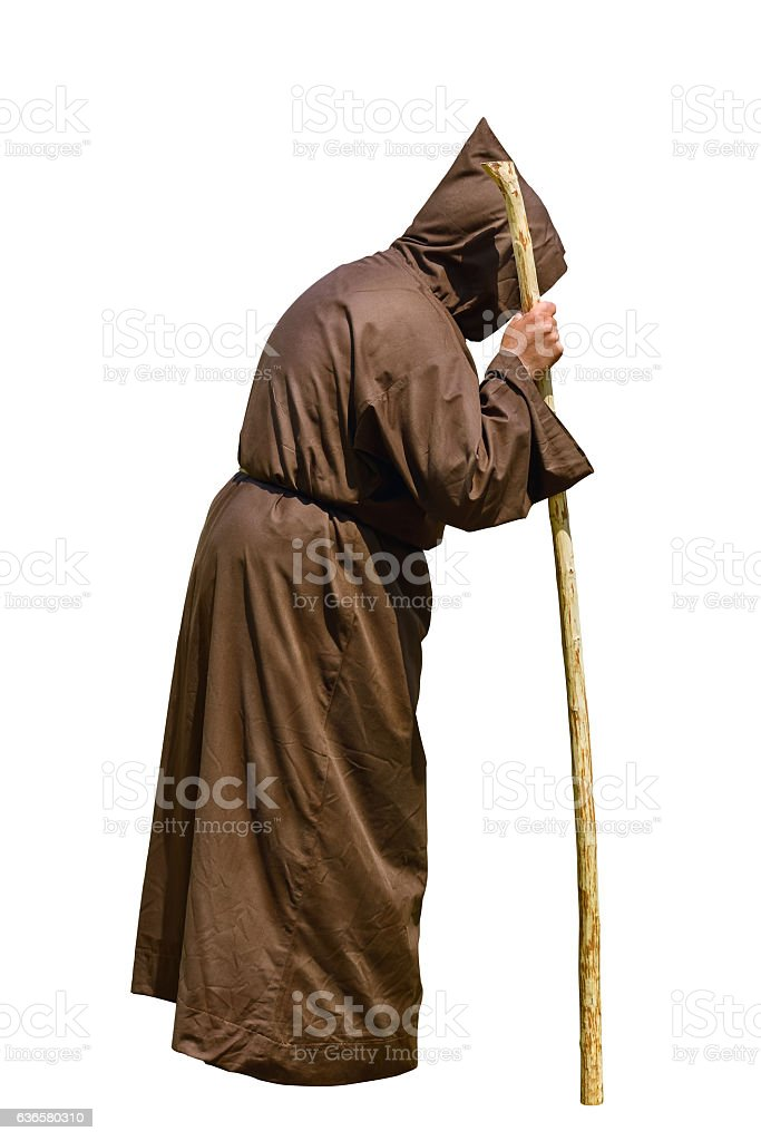 Monk with a Stick stock photo