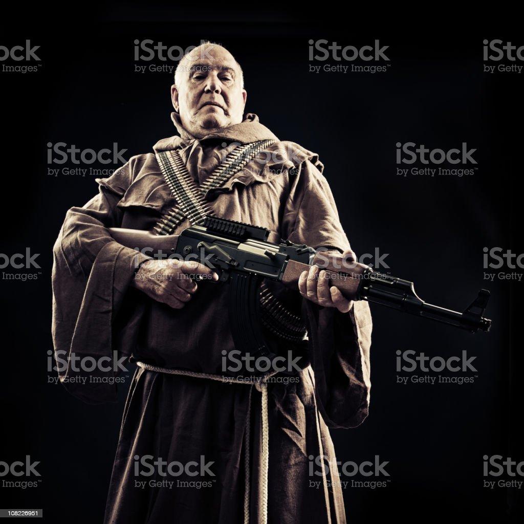 Monk with an ak 47 royalty-free stock photo
