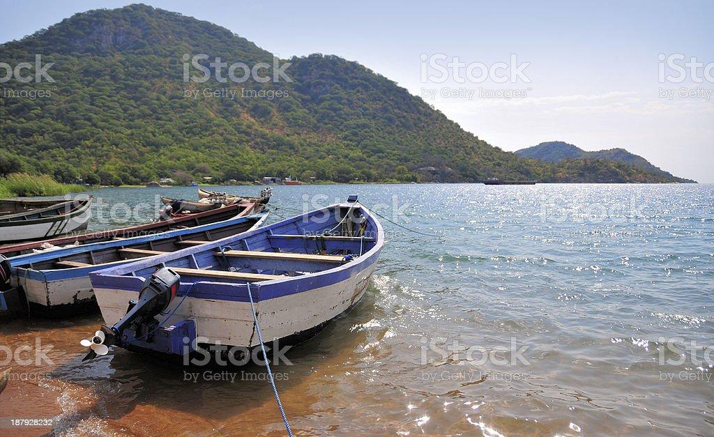 Monkey Bay, Boats on Lake Malawi stock photo