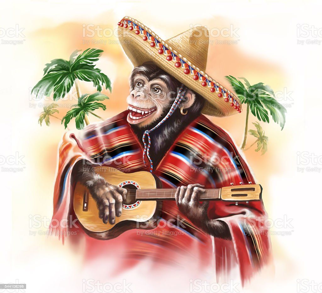 Monkey in a Mexican traditional dress playing guitar. stock photo