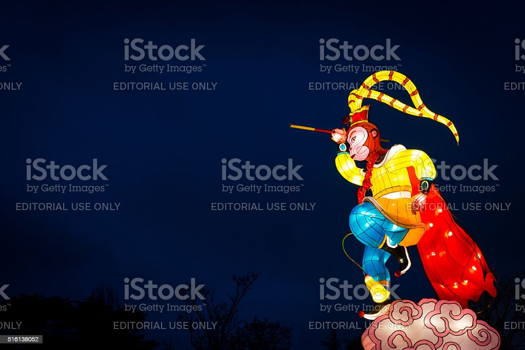 Monkey King lanterns represent New lunar year of Monkey stock photo