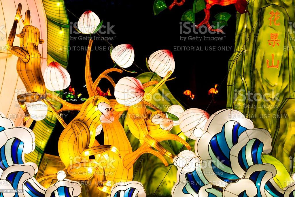 Monkey lanterns represent New lunar year of Monkey stock photo