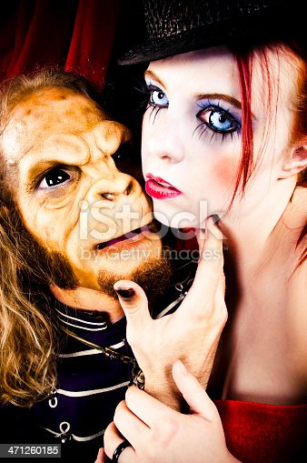 carnival woman in love with monkey man