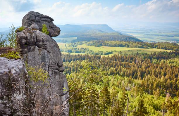 Monkey rock formation on Szczeliniec Wielki, Stołowe Mountains, Poland. stock photo