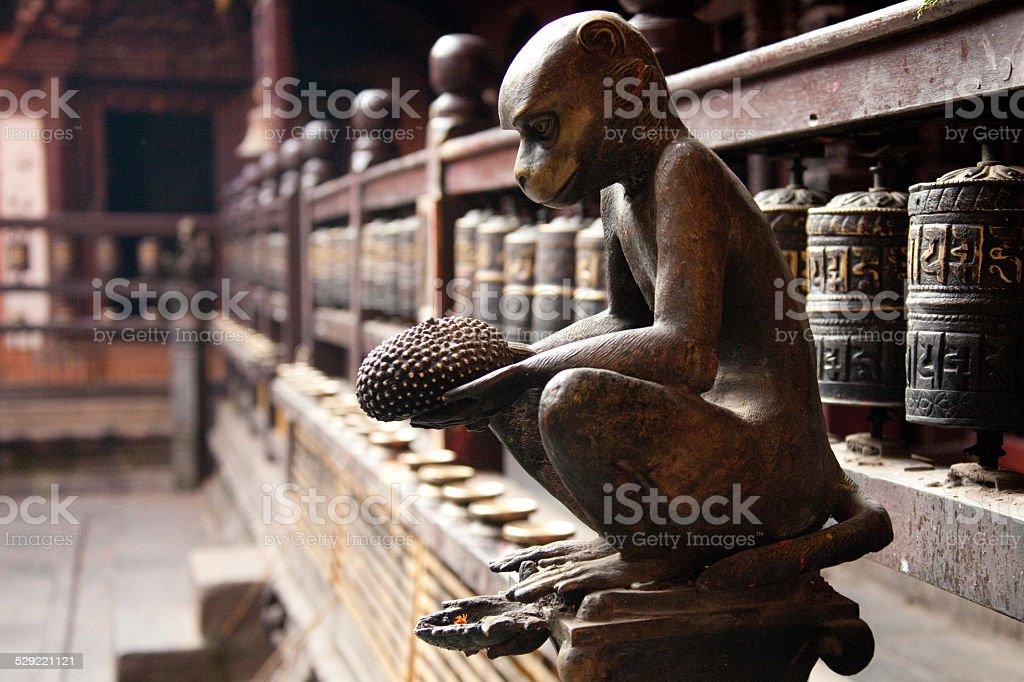 Monkey statue in Neplaese temple stock photo
