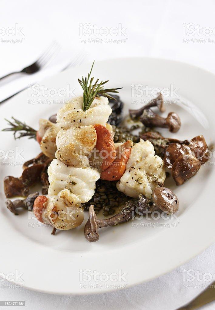 Monkfish and Scallop kebabs royalty-free stock photo