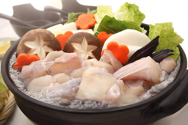 monkfish hot pot, japanese food - peixe na grelha imagens e fotografias de stock