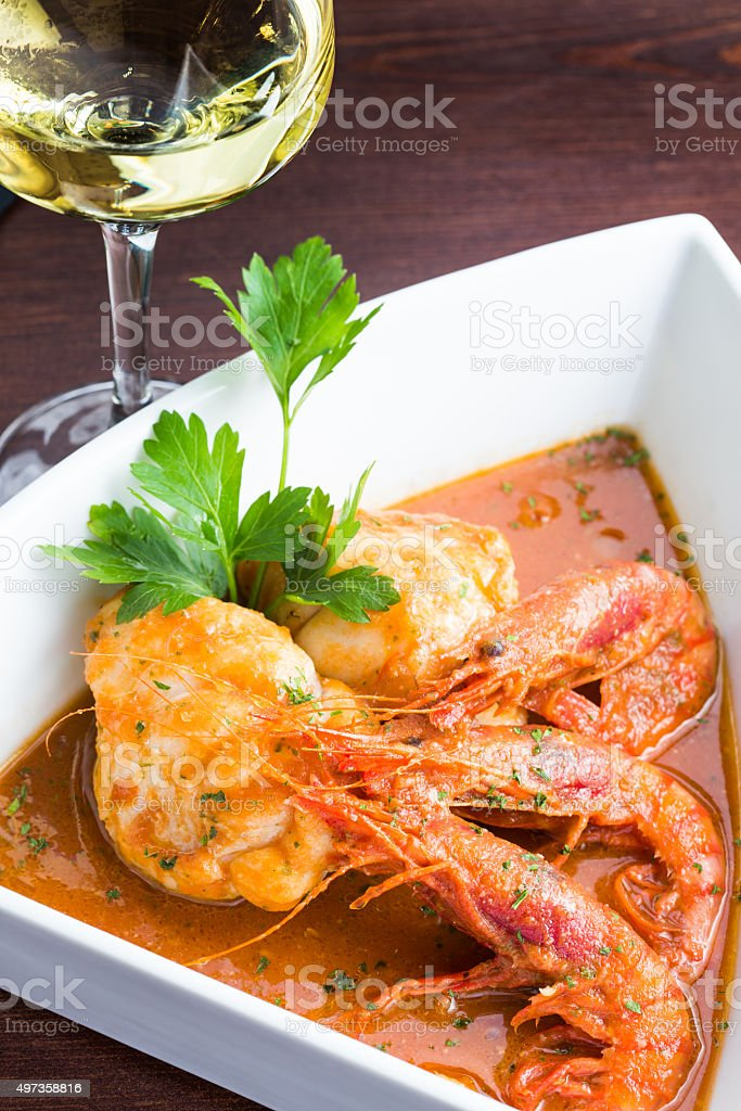 Monkfish with prawn stock photo